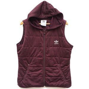 Adidas Retro Burgundy Trefoil Zip Hooded Vest